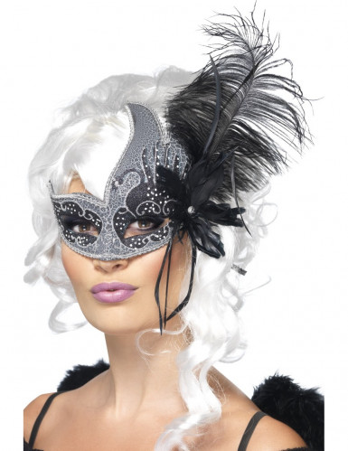 Oferta: Antifaz veneciano ángel negro con gran pluma negra adulto