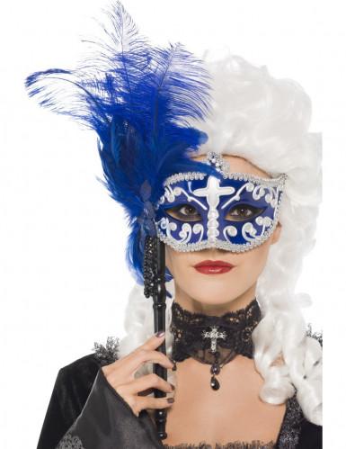 Oferta: Antifaz veneciano azul y blanco con pluma adulto