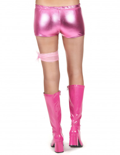 Shorty disco rose brillant femme-2