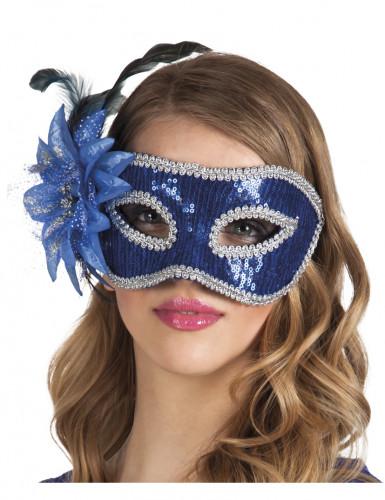Oferta: Antifaz veneciano con flor azul adulto