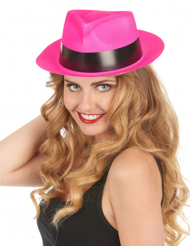 Chapeau gangster rose fluo adulte-1