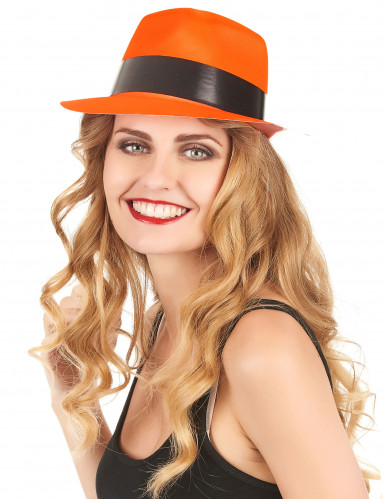 Chapeau gangster orange fluo adulte-1