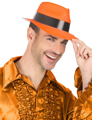 Chapeau gangster orange fluo adulte-2