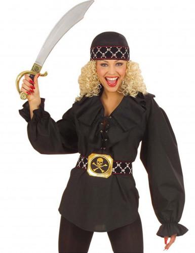 Chemise noire pirate femme