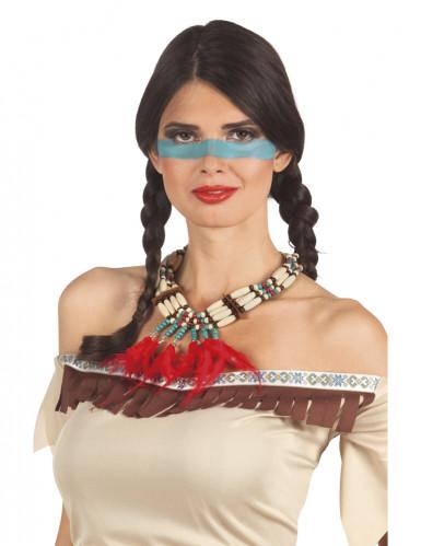 Collier indien avec plumettes rouges femme Taille Unique