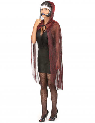 Cape araign e avec capuche noire et rouge m tallis halloween deguise toi achat de accessoires - Araignee rouge savon noir ...