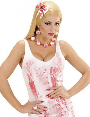 Kit bijoux yeux ensanglantés femme Halloween
