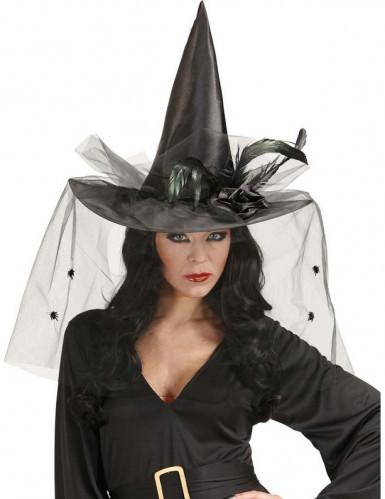chapeau sorci re avec tulle et plumes femme halloween deguise toi achat de chapeaux. Black Bedroom Furniture Sets. Home Design Ideas