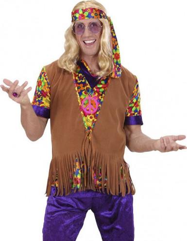 veste hippie marron franges homme deguise toi achat de d guisements adultes. Black Bedroom Furniture Sets. Home Design Ideas