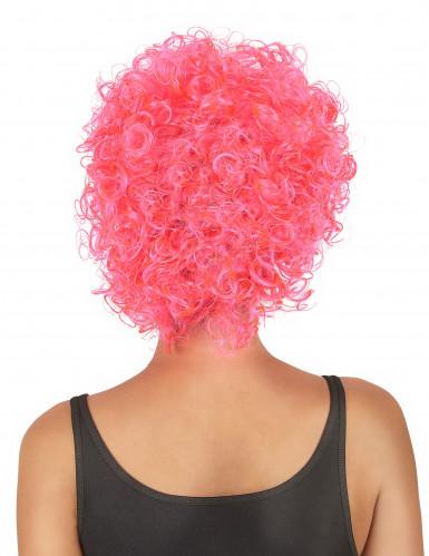 Perruque courte bouclée rose fluo femme-1