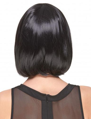 Perruque luxe noire carré plongeant avec frange femme-1