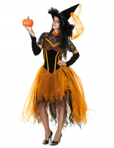 d guisement sorci re dentell e orange femme halloween. Black Bedroom Furniture Sets. Home Design Ideas