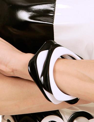 4 Bracelets noirs et blancs adulte Taille Unique