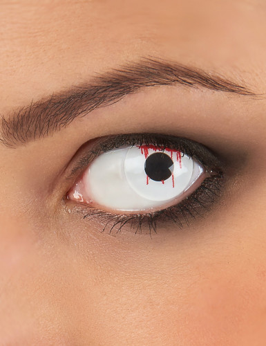 Lentilles fantaisie oeil blessé fond blanc adulte Halloween