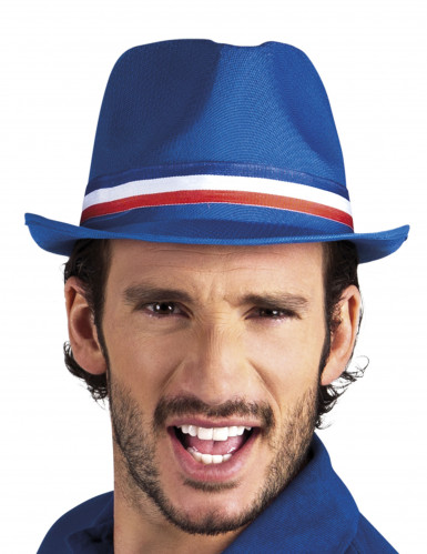 Chapeau gangster bleu supporter France adulte