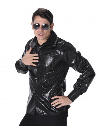 Chemise disco à sequins noirs homme-1