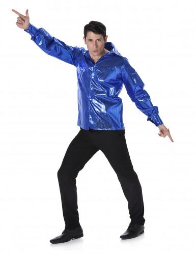 Chemise disco à sequins bleus homme