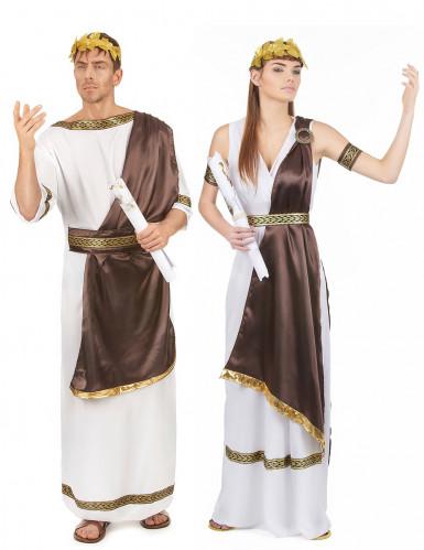 Déguisement de couple romain marron adulte