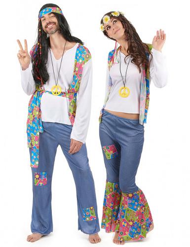 Déguisement de couple hippie coloré adulte