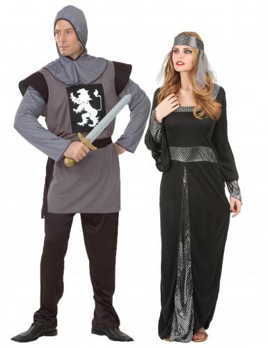 Déguisement de couple médiéval gris et noir adulte