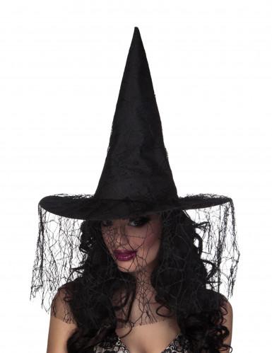 Chapeau sorcière noir avec voile araignée femme Halloween