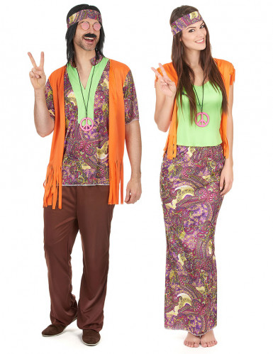 Déguisement de couple hippie orange adulte