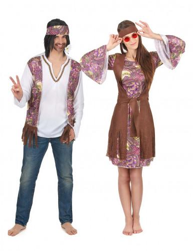 Déguisement de couple hippie violet adulte