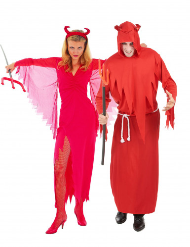 Déguisement de couple diable rouge Halloween