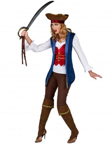 Déguisement pirate velours bleu et prune femme-1