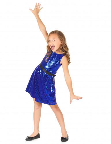 Déguisement robe disco bleue paillette avec gros noeud fille-1