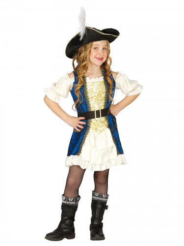 Déguisement capitaine pirate bleue fille