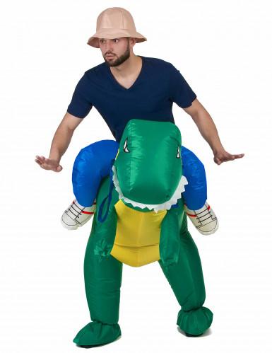 Déguisement explorateur à dos de dinosaure adulte-1