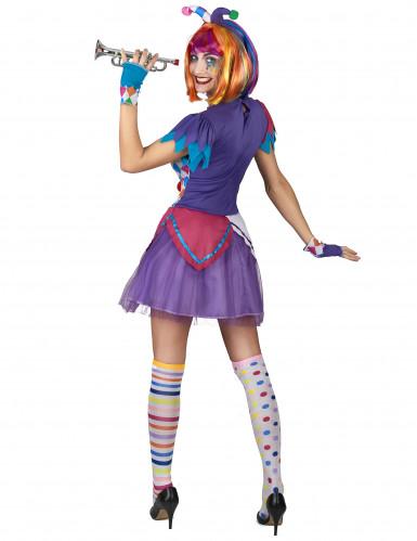 Déguisement arlequin pompons colorés femme-2