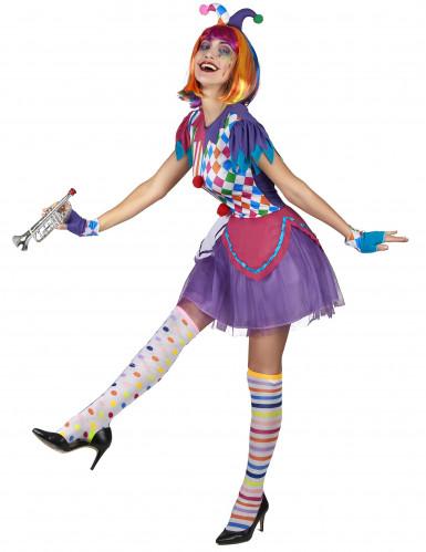 Déguisement arlequin pompons colorés femme-1