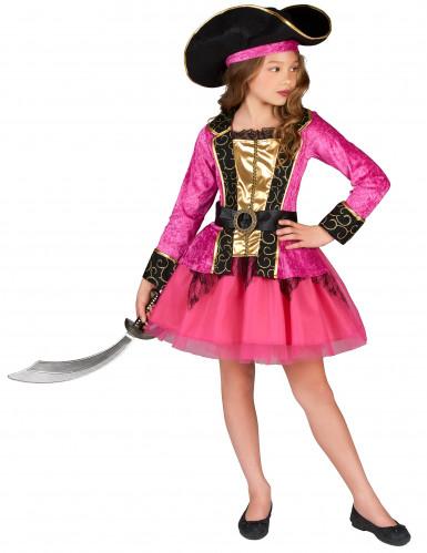 Déguisement Pirate rose et or fille
