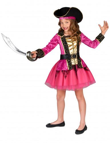 Déguisement Pirate rose et or fille-1