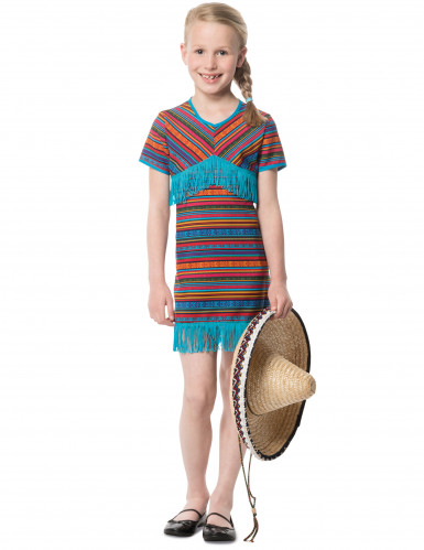 Déguisement robe mexicaine turquoise fille