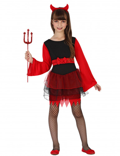 Déguisement démon en tutu rouge et noir fille Halloween