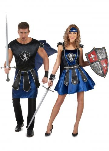 Déguisement de couple chevalier bleus adulte