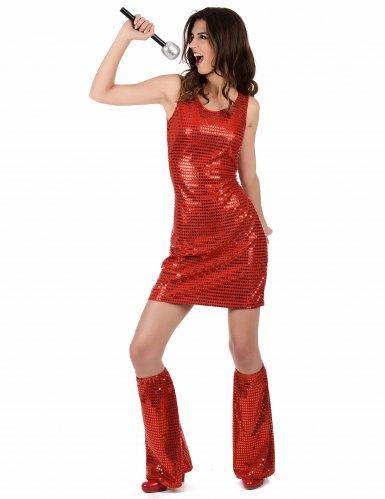Déguisement Disco Rouge à Sequins Femme