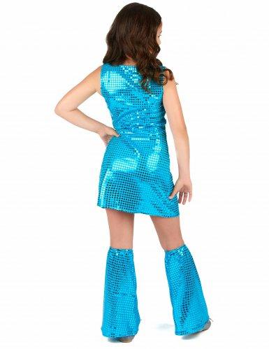 Déguisement Disco Turquoise à Sequins Fille-2