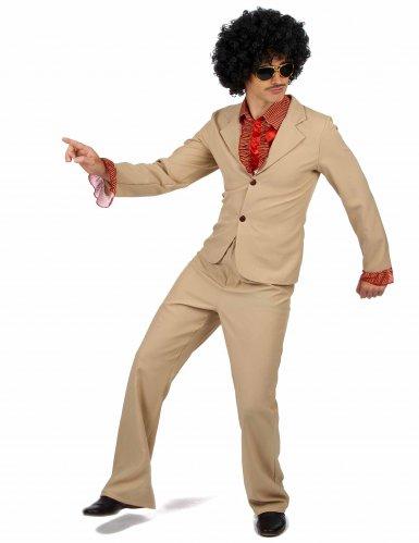 Déguisement Disco beige à froufrous Homme -1