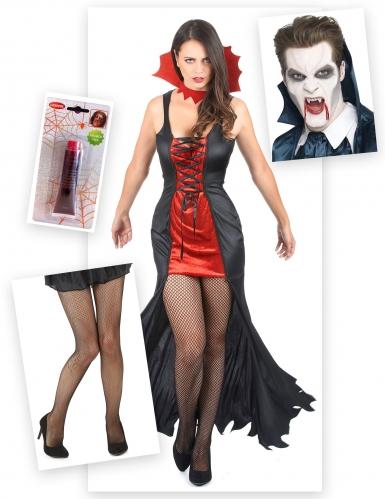 Pack déguisement vampire femmme avec dents, faux sang et collants Halloween