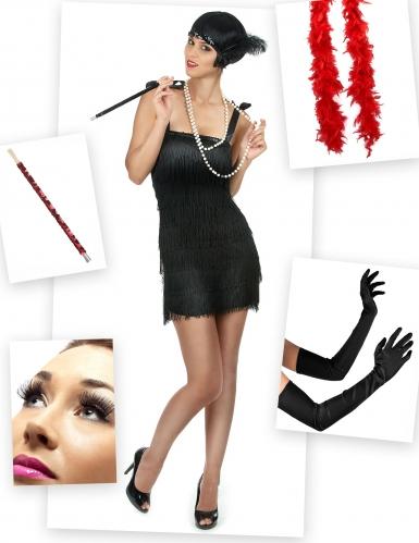 Pack déguisement Charleston rouge et noir femme
