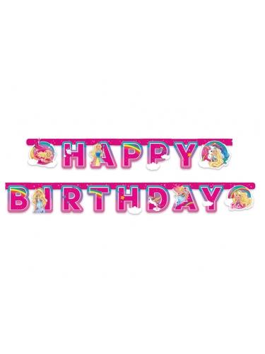 Bannière en papier Happy Birthday Barbie Dreamtopia™ 15 cm x 2 m