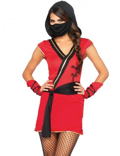 Déguisement ninja mystique rouge femme
