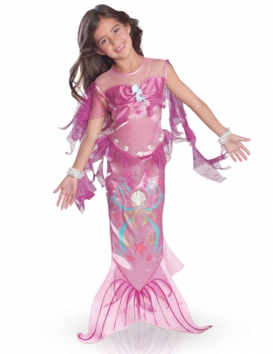 Déguisement sirène des mers rose fille