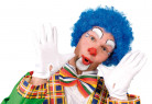 Perruque afro bleue de clown adulte