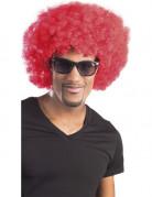 Peluca afro disco roja para adulto