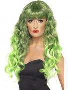 Peluca ondulada color verde para mujer, ideal para Halloween o Saint Patrick